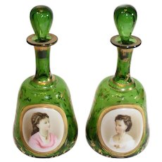 Rare Pair of Moser Portrait Dresser Bottles - 1880-1890