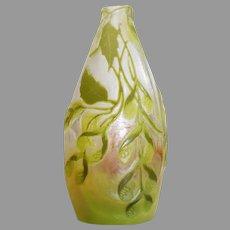 Miniature Cameo Galle Lime Colored Vase - Art Nouveau - c. 1886-1916
