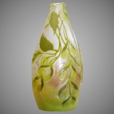 Miniature Cameo Galle Lime Colored Vase - Art Nouveau - c. 1886-1916