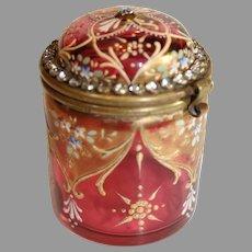 Ludwig Moser Design - Ormolu Accented Ruby Glass Box _ c. 1890-1900