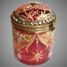 Ludwig Moser Design - Ormolu Accented Ruby Glass Box _ c. 1890-1900