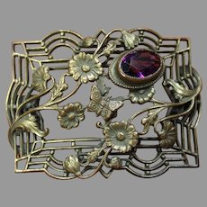 Art Nouveau Brass Buckle with Natural Amethyst - 1907