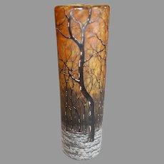 Daum Nancy Art Nouveau Glass Vase - Forrest Scene - c. 1900
