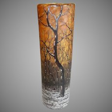 Daum Nancy Art Nouveau Glass Vase - Forrest Scene - c. 1900