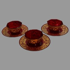 3 Ruby Red Finger Bowls and Plates produced by Moser - signed - Art Nouveau Period