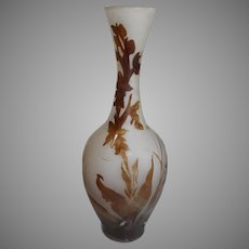 Galle Orchid Cameo Glass Vase - c. 1900
