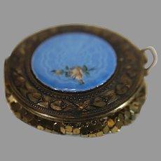 Blue Enameled Metal Mesh Powder Box - c. 1920s