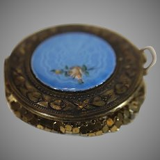 Blue Enameled Metal Mesh Powder Box - c. 1920s