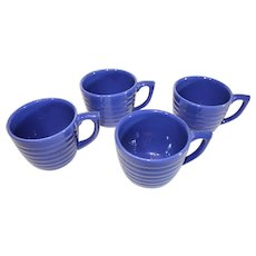 Bauer China Multi-ring Cobalt Blue Coffee cups - set of 4 - 1940s