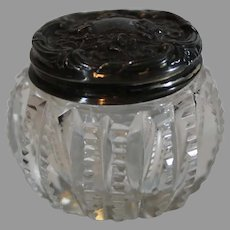 Brilliant Cut Crystal Art Nouveau Rouge Jar with Sterling Top - c. 1900