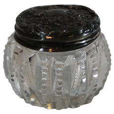 Brilliant Cut Crystal Art Nouveau Rouge Jar with Sterling Top - c. 1900