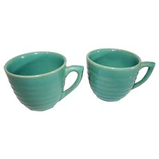 Bauer Multi-ring Coffee Cups - Turquiose - c. 1940
