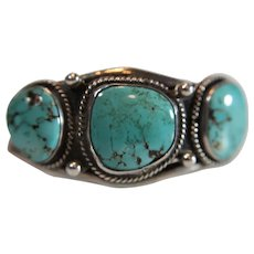 Vintage Sterling Silver Turquoise Native American Small Cuff Bracelet - Signed B Y E