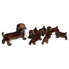 MIniature Ceramic Dachshund with 6 Puppies on a Chain - Japan - 1950s