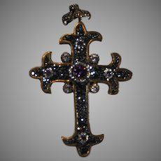 Vintage Sterling Silver/Brass Pendant Crucifer with Amethysts and Marcasite