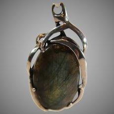 Vintage Labradorite Stone in aFree Form Sterling Silver Pendant