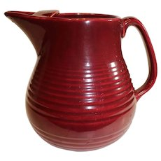 Vintage Bauer 3 Quart Burgundy Multi-Ring Pitcher - 1930-1940