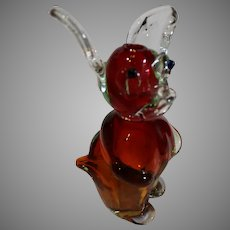 Vintage Murano Hand Blown Liquor Bottle -  a Cartoon Mouse