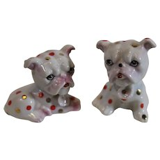 Miniature Porcelain Bull Dogs - Japan - 1950s
