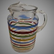 Retro Glass Iced Tea Pitcher - Red, Blue, Green and Yellow Striped - 1950s