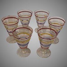 8 MINT Retro Footed Striped Tumblers - 1950