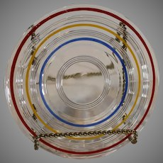 8 Retro 1950s Ringed Plates - Red, Blue and Yellow - MINT