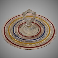 Retro Tidbit Tray with Multi-Stripes - 1950s