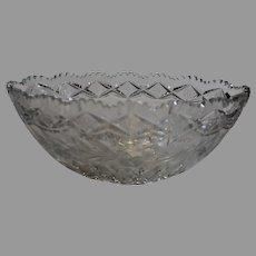 Brilliant Cut Era Oval Crystal Bowl - c. 1900s