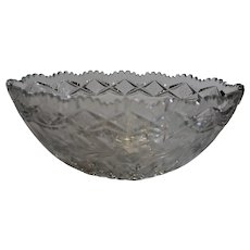 Brilliant Cut Era Oval Crystal Bowl - c. 1900s