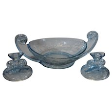 Fostoria Versailles Blue Depression Glass Center Bowl and Candle Sticks - 1928