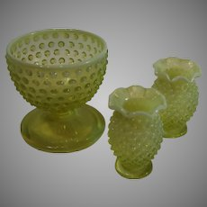 Set of Yellow Hobnail -  Center Bowl and Vases - 1940s
