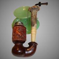 Vintage Briar Smoking Pipe c. 1940s - Hand Carved