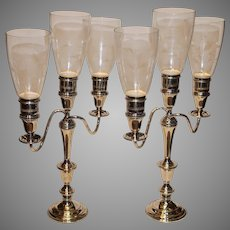 LUNT Sterling Silver Candelabrae with Hurricane Globes - c. 1920s