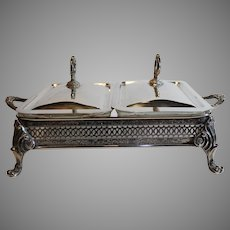 Sheridan Silverplate Double Serving Tray - c. 1950s