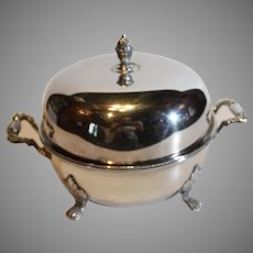 Sheffield Silverplate Covered Sauce - English - Silver over Copper - 1940s