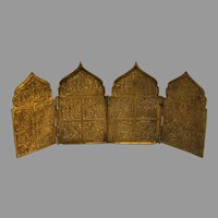 Antique Bronze Russian 4 Panel Icon - early 1800s