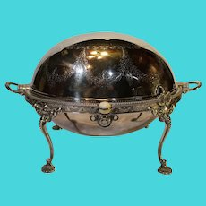 Vintage Silverplate Rolled Dome Breakfast Warmer - W H and S