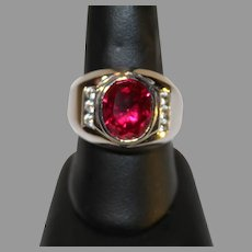 Vintage Sterling Silver Synthetic Ruby Gentleman's Ring - 1080s