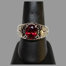 Vintage Ladies Synthetic Ruby Sterling Silver Ring - 1980s