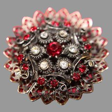 Vintage Costume Rhinestone Ruby and Clear Brooch