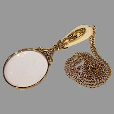 Vintage Costume Jewelry Necklace with Magnifying Glass