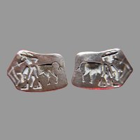 Vintage Sterling Silver Taxco Cuff Links - Matador and Bull