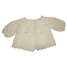 Vintage Light Green Crochet Baby Sweater - 1940s
