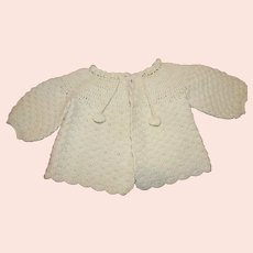 Vintage Light Green Crochet Baby Sweater - 1940s
