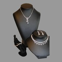 5 Pieces of Vintage Rhinestone - 3 Necklaces, 1 Bracelet, Ear Rings