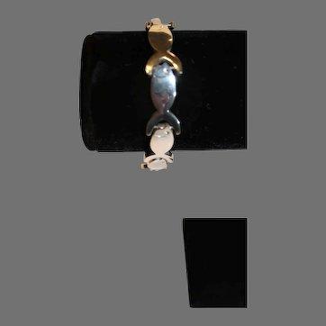 Vintage Sterling Silver Fish Bracelet - 2000