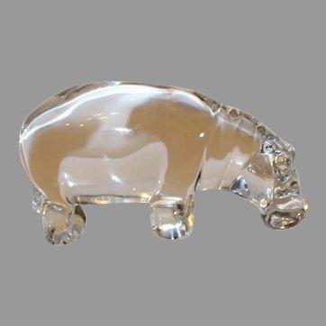 Vintage Baccarat Crystal Hippopotamus - 1980s