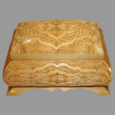 Vintage Oriental Hand Carved Wooden Box