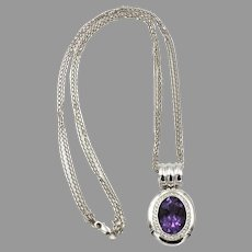 Vintage White Gold Necklace and Amethyst/Diamond Pendant
