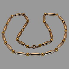 Vintage Sterling Silver/Gold Plated Bead Necklace - 1970s